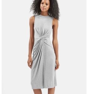 TopShop Midi Dress Gray Sleeveless Knot Front